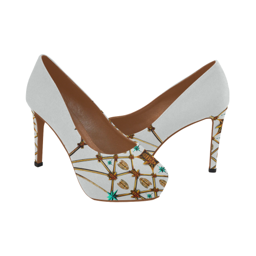 Women's Statement High Heels- Gilded Honey Bee-Honeycomb Pattern Heels in Color Light Gray, GRAY