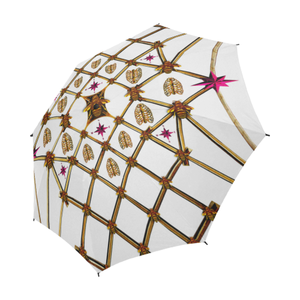 Bee Divergence Gilded Ribs & Magenta Stars- Semi & Auto Foldable French Gothic Umbrella in White | Le Leanian™