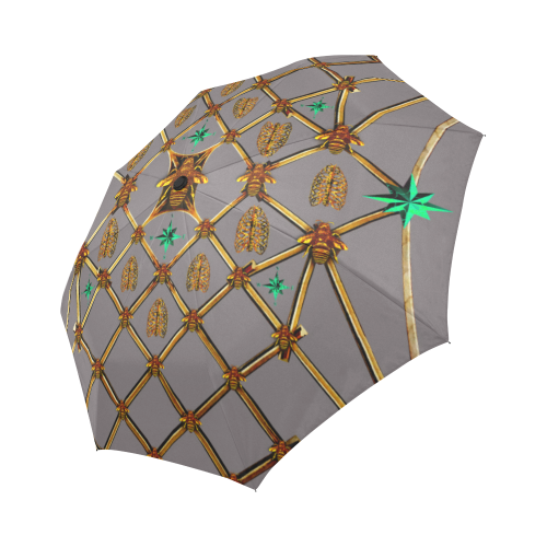 Bee Divergence Gilded Ribs & Jade Stars- Auto & Semi Auto Foldable French Gothic Umbrella in Lavender Steel | Le Leanian™