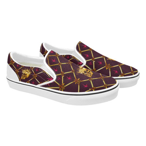 Skull & Magenta Stars- Women's French Gothic Slip-On Sneakers in Eggplant Wine | Le Leanian™