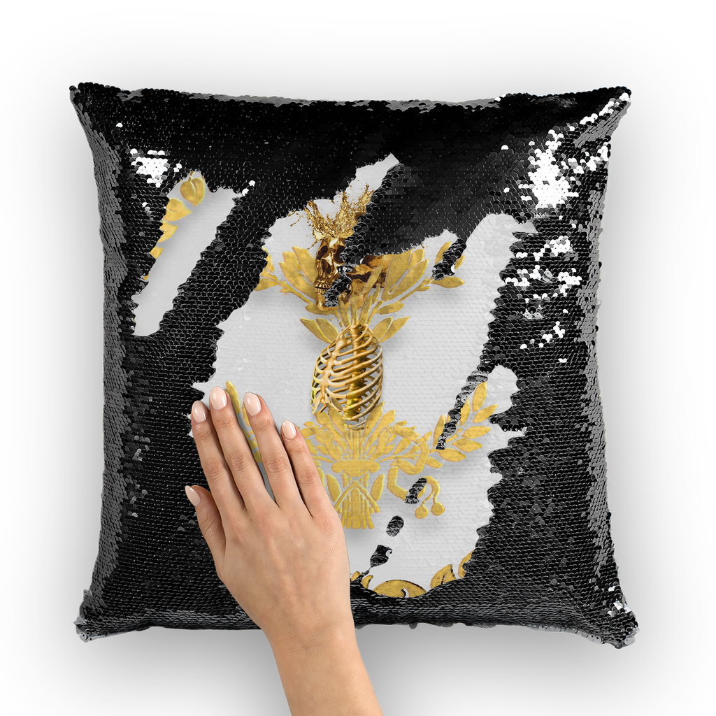 Caesar Skull Relief- French Gothic Sequin Pillowcase or Throw Pillow in Lightest Gray | Le Leanian™