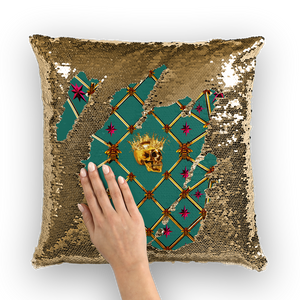 French Gothic Honey Bee & Rib Star Pattern-Sequin Pillowcase & Throw Pillow-Jade Green