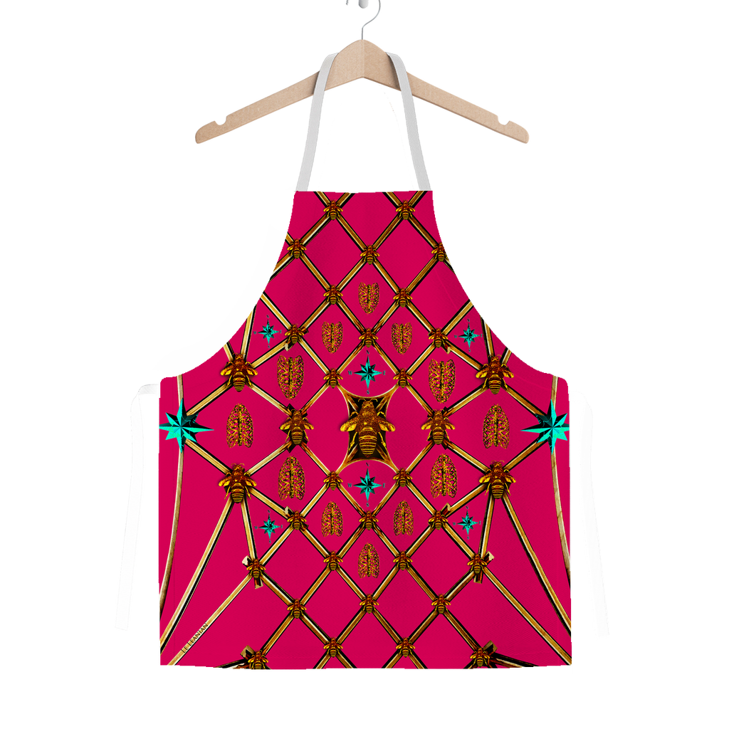 Honey Bee Gilded Hive-Blue Stars-Honeycomb Pattern- Classic Apron Color Bold Fuchsia, PINK, Hot Pink