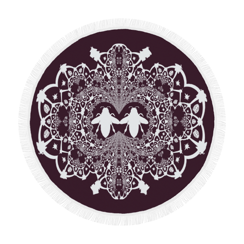 Circular Throw-Baroque Honey BEE Relief-Color EGGPLANT WINE, WINE RED & WHITE
