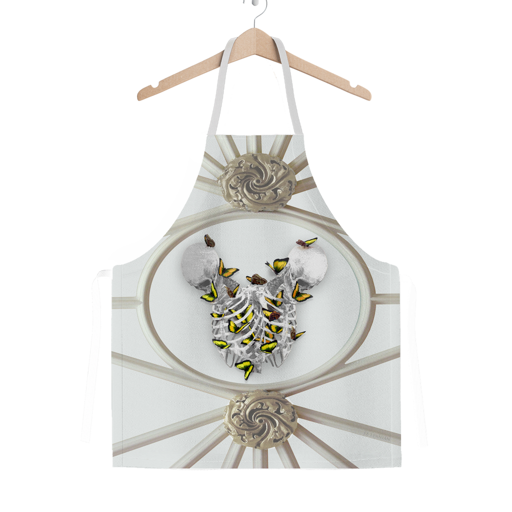 Versailles Divergence Skull Golden Whispers- Classic French Gothic Apron in Lightest Gray | Le Leanian™
