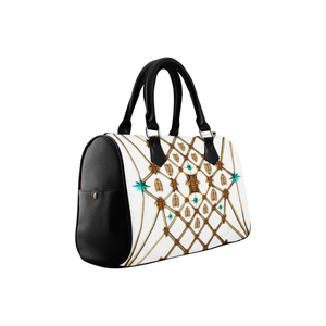 Gilded Bees & Ribs- French Gothic Boston Handbag in White | Le Leanian™