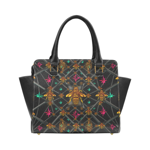 Riveted SATCHEL HANDBAG-MULTI COLOR Honey BEE PATTERN- Color BLACK