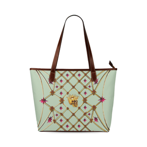 Skull and Magenta Stars-Honey Bee Pattern- Classic Shoulder Tote in Color Pastel Blue