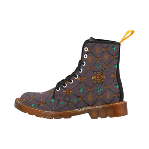 Bee Divergent Dark Ribs & Jade Stars- Women's French Gothic Combat  Boots in Muted Eggplant Wine | Le Leanian™