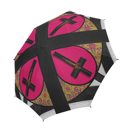 The Crossroad Crucifix- Semi Auto & Auto Foldable French Gothic Umbrella in Bold Fuchsia | Le Leanian™