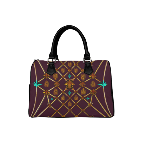 Women's Handbag-Boston Bag- Gold Bee & Ribs Pattern in Color Eggplant Wine, Wine RED, BLOOD PURPLE
