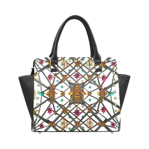 Riveted SATCHEL HANDBAG-MULTI COLOR Honey BEE PATTERN- Color WHITE