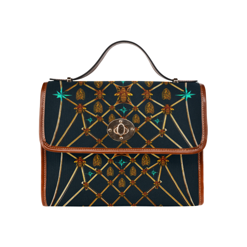 Gold Bee & Ribs- Women's Clutch Handbag in Color Midnight Teal, BLUE and Tan