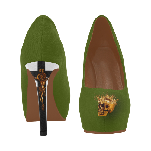 Olive Green Gold Skull and Crucifix Women's High Heel Shoes.