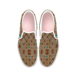 Women's Slip-On-VANS Style-OXFORD-Sneakers-BEES, RIBS & STARS PATTERN-Color TAN, CAMEL, BROWN, NEUTRAL, COCOA