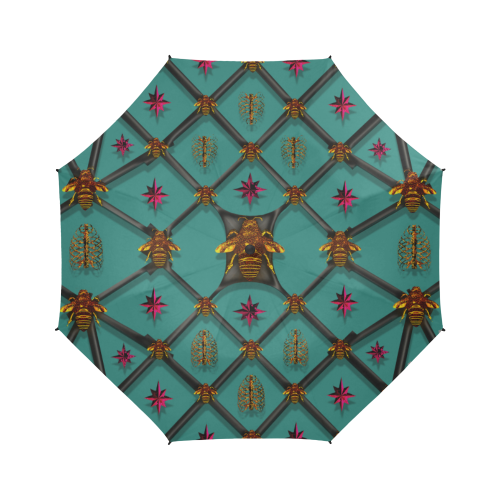Bee Divergent Ribs & Magenta Stars- Semi Auto Foldable French Gothic Umbrella in Jade Teal | Le Leanian™