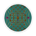 Bee Divergence Gilded Ribs & Teal Stars- Circular French Gothic Medallion Beach Throw in Jade | Le Leanian™