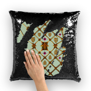 Bee Divergence Gilded Ribs & Magenta Stars- French Gothic Sequin Pillowcase or Throw Pillow in Pastel | Le Leanian™