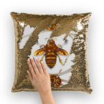 French Chic- French Country Chic- Gold Sequin- Royal Honey Bee Pillow Case- Cushion Cover in Color Light Gray