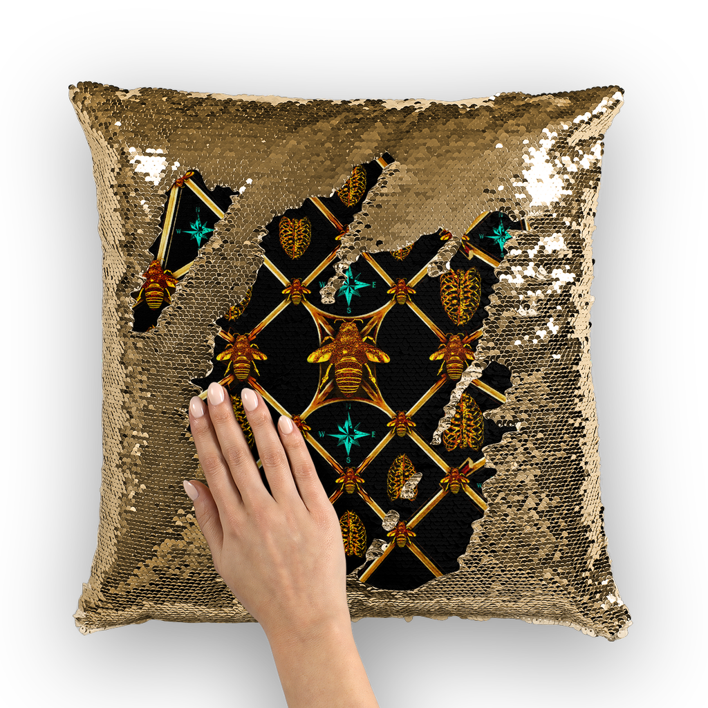 French Chic- French Country Chic- Gold Sequin- Royal Honey Bee Pillow Case- Cushion Cover in Color BLACK