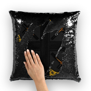 Crossroads Crucifix-French Gothic Sequin Pillowcase or Throw Pillow in Darkest Charcoal | Le Leanian™