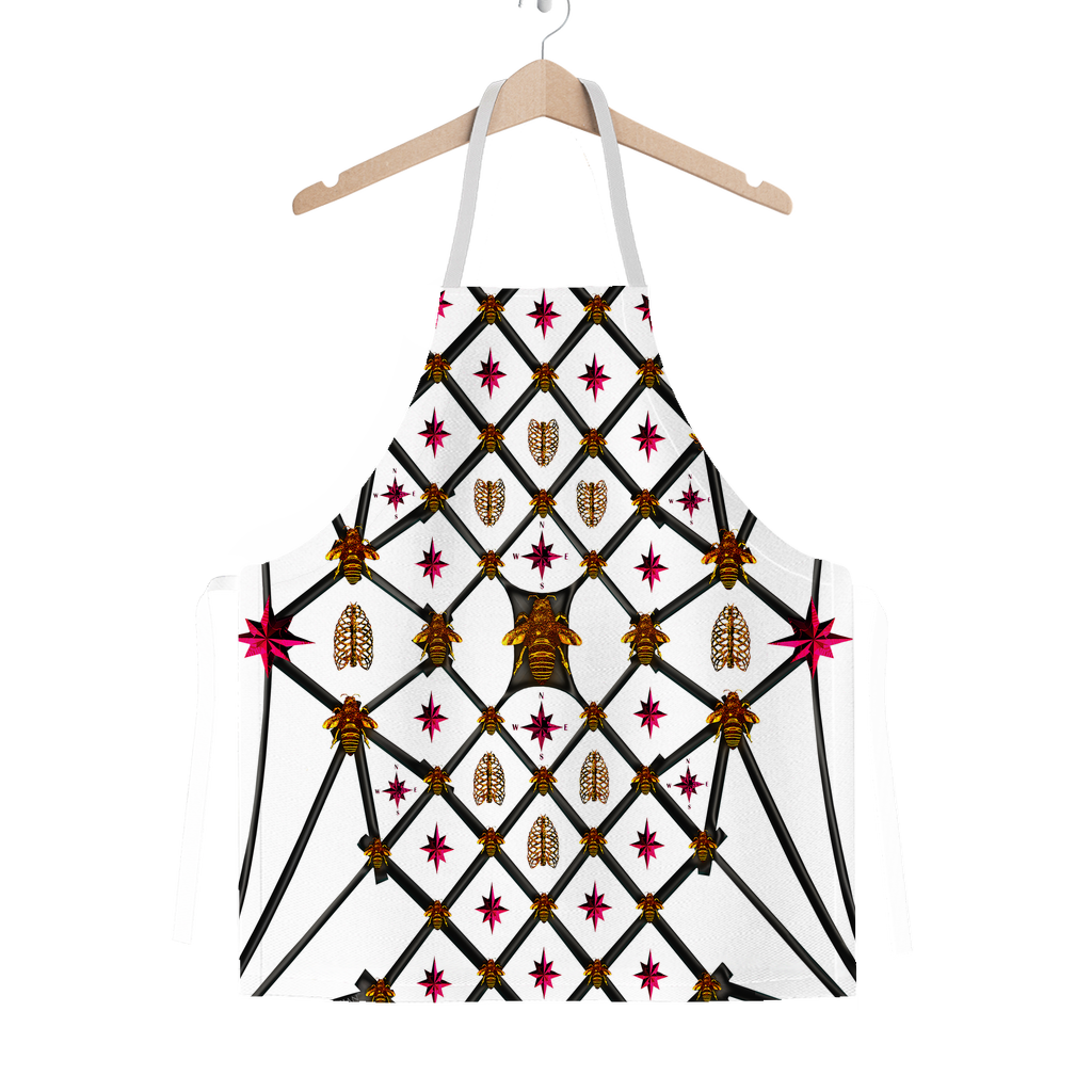 Classic Apron-MULTI COLOR HONEY BEE PATTERN-Color WHITE