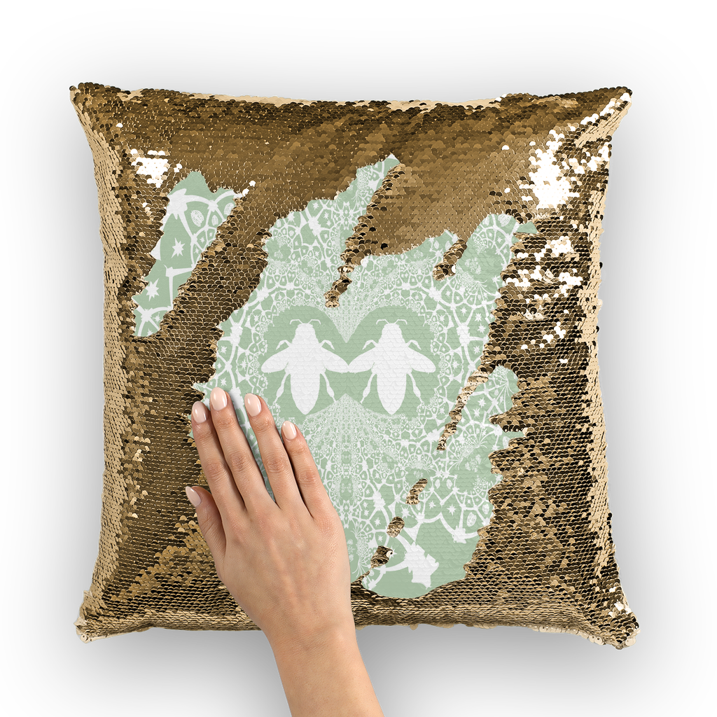 Sequin Gold & BLACK PILLOW CASE-Throw PILLOW-Baroque Bee Pattern-Color PASTEL BLUE & WHITE