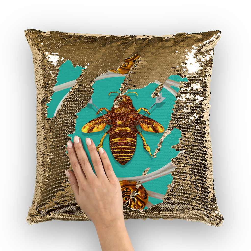Versailles Queen Bee -French Gothic Sequin Pillow Case Throw Pillow- Bright Teal Blue