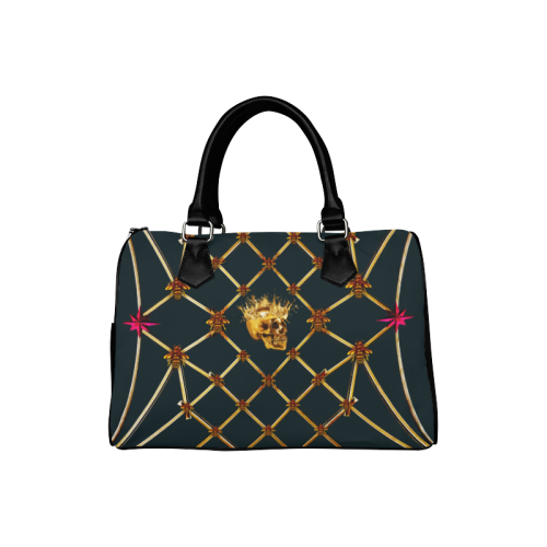 Skull & Honeycomb- French Gothic Boston Handbag in Midnight Teal | Le Leanian™