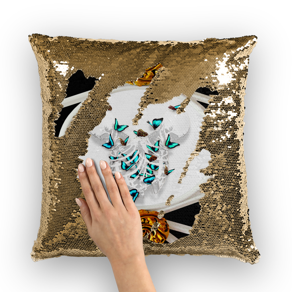 Versailles Whispers Gilded Divergent Teal Duality- Sequin Pillow Case in Back to Black | Le Leanian™ | The Photographist™