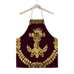 GOLD SKULL & GOLD WREATH-Classic APRON in Color EGGPLANT WINE, WINE RED, PURPLE, BURGUNDY