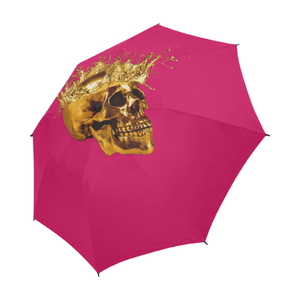 Cirque- Circus Metallic Gold Skull Umbrella- in Color Solid Bold Fuchsia PINK