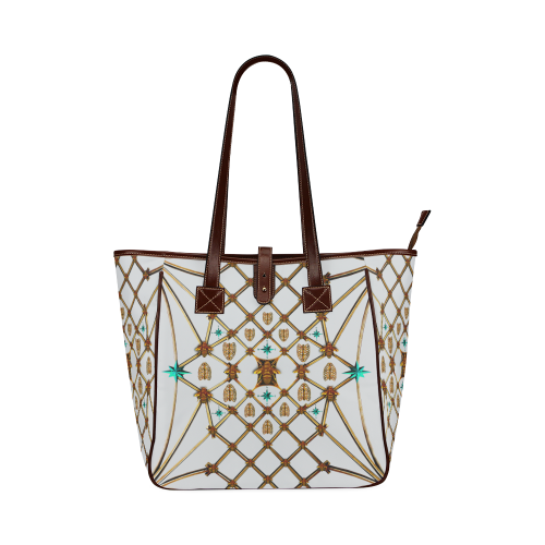 Honey Bee and Ribs Pattern- Classic Shoulder Tote in Color White