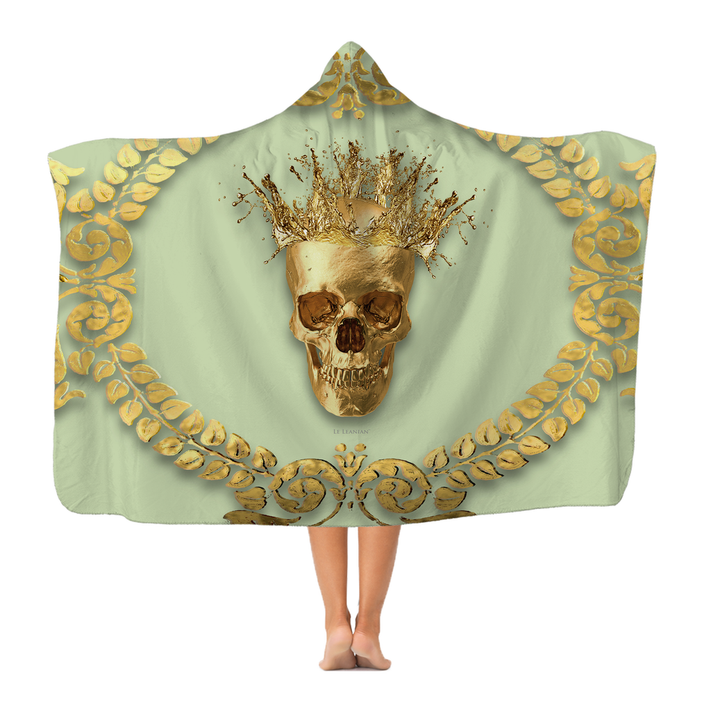 Polar Fleece Blanket-GOLD SKULL & CROWN-GOLD WREATH-Color PASTEL GREEN