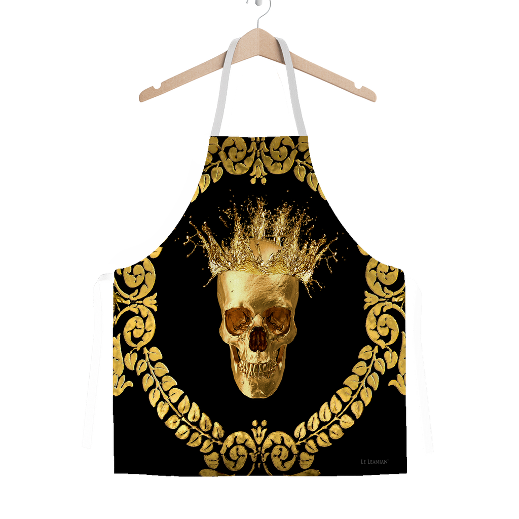 Classic Apron-Gold SKULL and Crown-Gold WREATH-Color BLACK