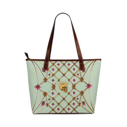 Skull & Magenta Stars- Classic French Gothic Tote Bag in Pastel | Le Leanian™