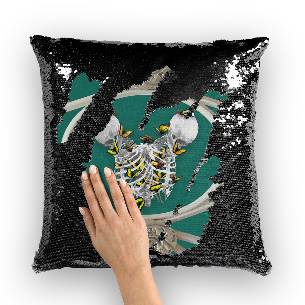 Versailles Divergence Skull Golden Whispers-French Gothic Sequin Pillowcase or Throw Pillow in Jade Teal | Le Leanian™
