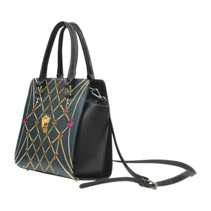 Skull & Honeycomb- Classic French Gothic Satchel Handbag in Midnight Teal | Le Leanian™