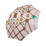 Bee Divergence Gilded Ribs & Teal Stars- Semi & Auto Foldable French Gothic Umbrella in Nouveau Blush Taupe | Le Leanian™