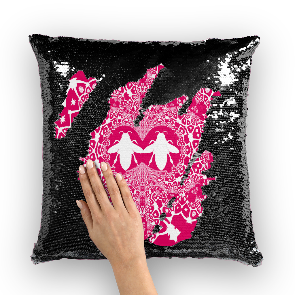 Baroque Hive Relief- French Gothic Sequin Pillowcase or Throw Pillow in Bold Fuchsia | Le Leanian™