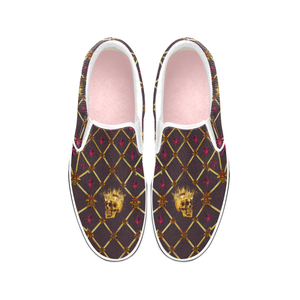 Skull and Magenta Stars-Honey Bee Pattern- Classic Slip-On Sneakers-Vans- Punk- in Color Muted Eggplant Wine, Muted Wine