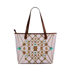 Gilded Bees & Ribs- Classic French Gothic Tote Bag in Nouveau Blush Taupe | Le Leanian™
