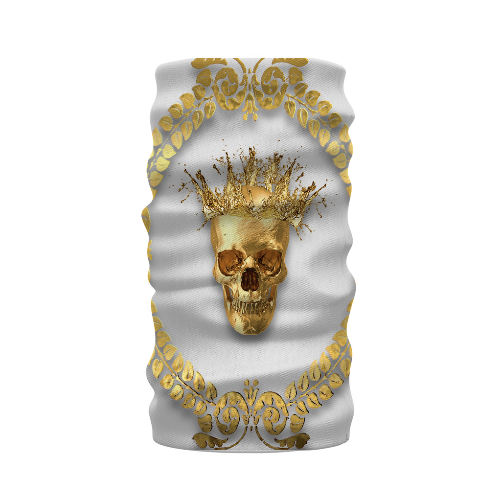 Morf SCARF- GOLD SKULL CROWN-GOLD WREATH-Color Light GRAY