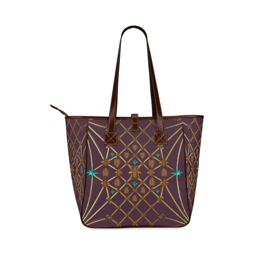 Women's Honey Bee, Ribs, Blue Star Pattern- Shoulder Tote in Color Eggplant Wine, Wine RED, PURPLE