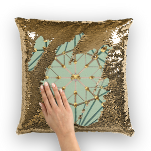Cathedral Skull Pattern- Gold Sequin Pillow Case- Throw Pillow in Color Pastel Blue, Quail Egg Blue