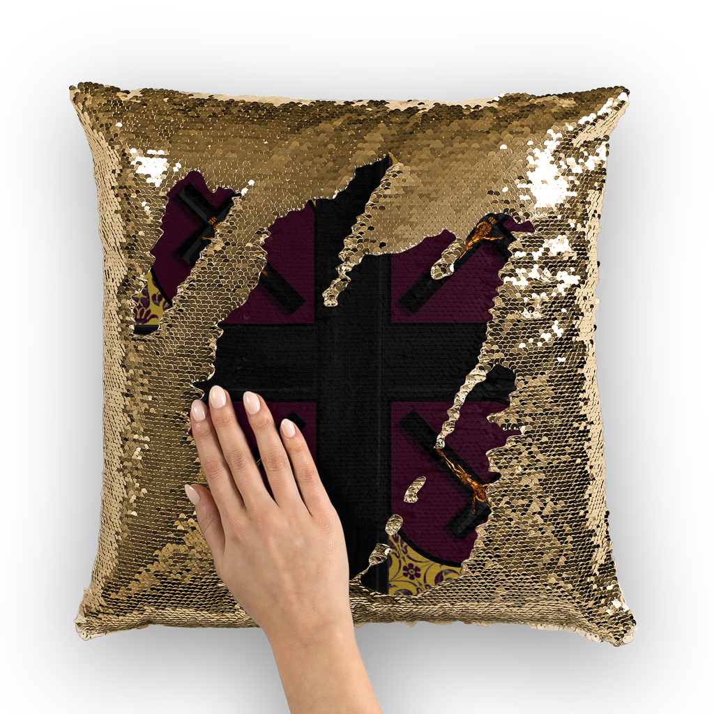 Crossroad Crucifix Gothic Sequin Pillowcase-Throw Pillow- Eggplant Wine Red
