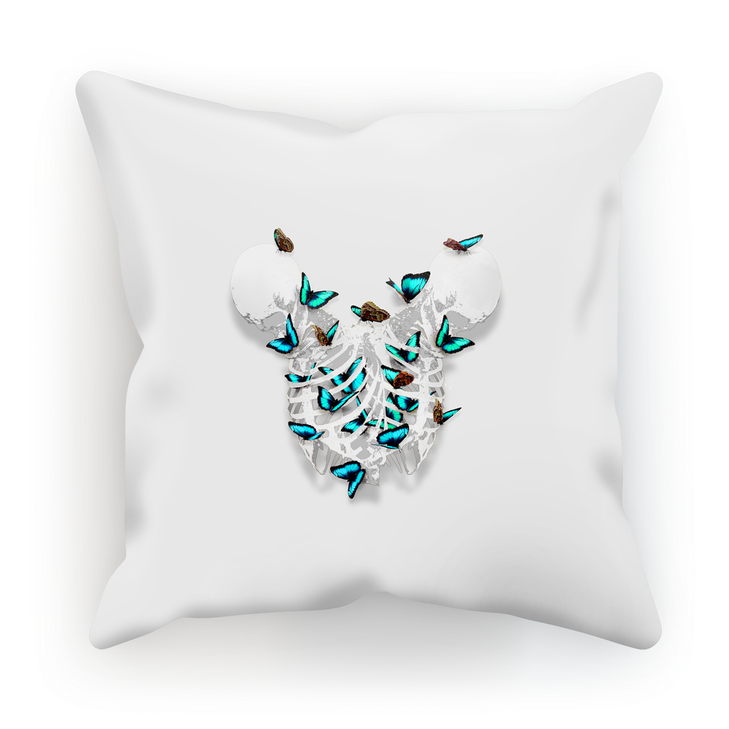 Siamese Skeleton Pillowcase with Teal Butterfly Rib Cage- in lightest Gray