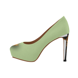 Dripping in Gold Skull & Cross- Women's French Gothic Heels in Light Green-Peep Heel | Le Leanian™