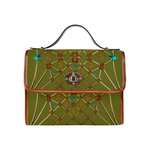 Gold Bee & Ribs- Women's Clutch Handbag in Color Olive GREEN and Tan