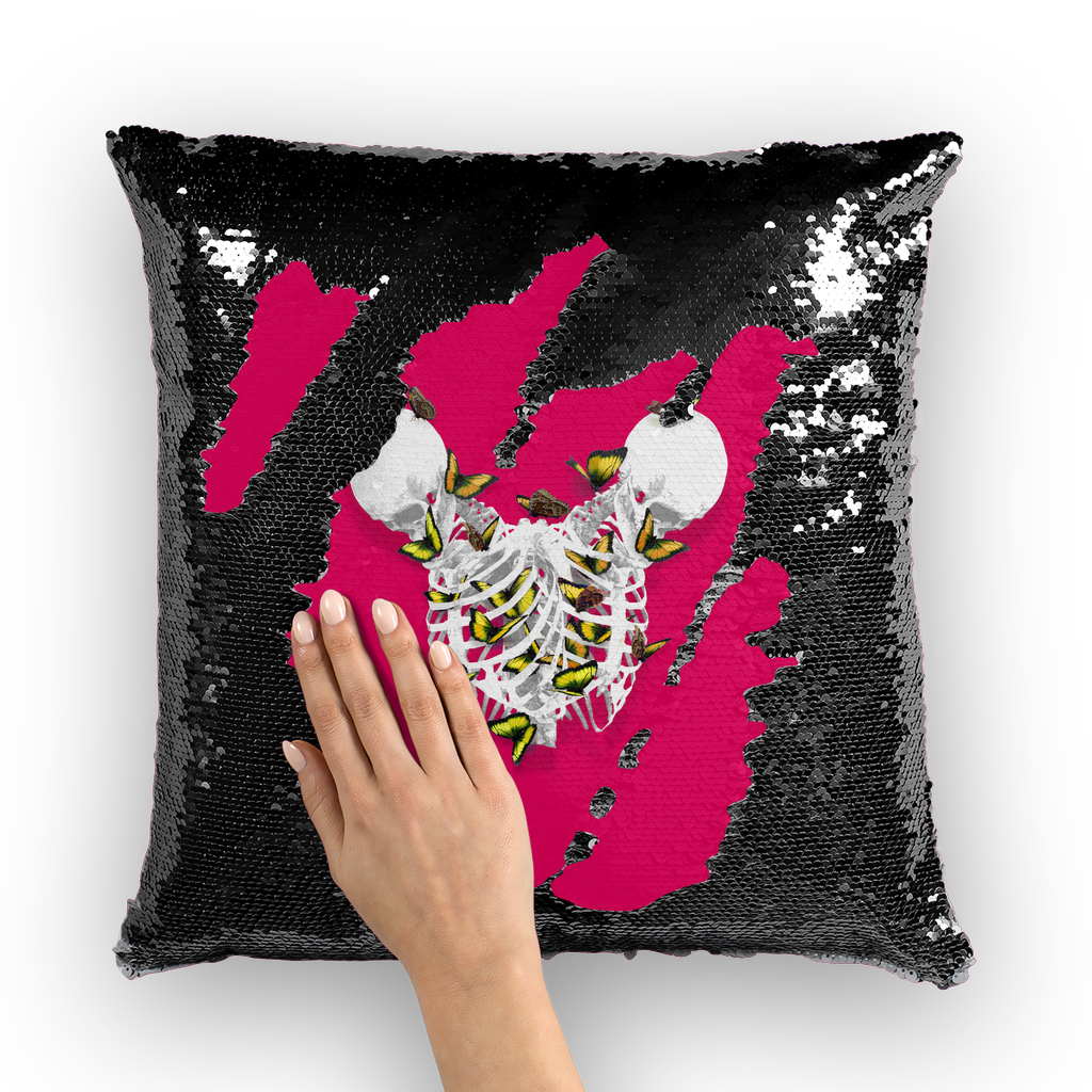 Versailles Divergence Golden Duality- French Gothic Sequin Pillowcase or Throw Pillow in Bold Fuchsia | Le Leanian™
